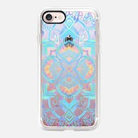 Decorative Turquoise and Rainbow Doodle on transparent iPhone 7 Case by Micklyn Le Feuvre | Casetify