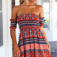 Red Vintage Print Ruched Off Shoulder Mini Dress