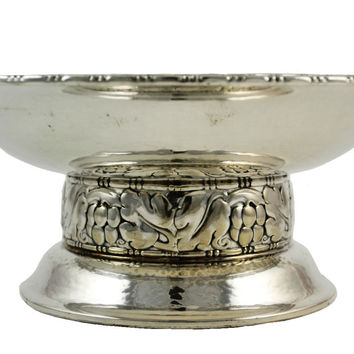 Silver Plated Fruit Bowl on Riased Foot, Vintage Swedish