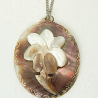 Antique Carved Mother Of Pearl Pendant Large Flower Pendant Necklace