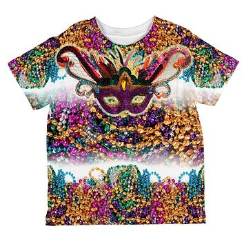 Mardi Gras Trippy Mask Beads All Over Toddler T Shirt
