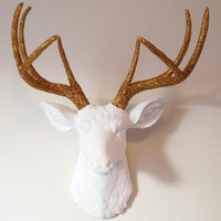 White and Gold Glitter Deer Head Wall Mount
