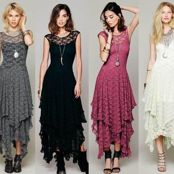 2018 Bridesmaid long elegant lace maxi dress hippie design original ankle-length party festival lace dresses gown vestidos
