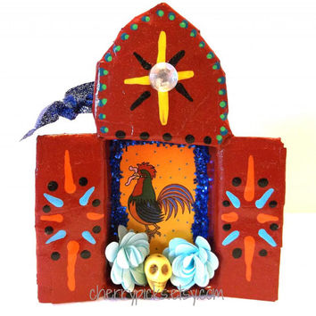 El Gallo Loteria Ornament Paper Mache Day of the Dead Decoration Dia de los Muertos Nicho