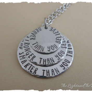Hand Stamped Jewelry - Necklace Stack - Braver Smarter Stronger - Winnie the pooh inspired - silver handmade jewelry - gift for her