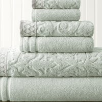 6 Piece Jacquard Towel Set