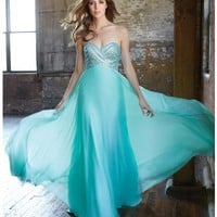 Mint Beaded Strapless Chiffon Gown Prom 2015