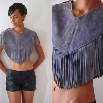 Vtg Suede Leather Fringed Grey Southwest Crop Top