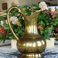 Vintage Large Solid Brass Tall Pitcher Bohemian Decor Gypsy Style Hippie Boho Vase