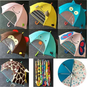 7 Colors children kids 3D cartoon umbrella long handle sun protection