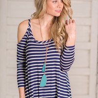 Let's Take A Trip Stripe Open Shoulder Top (Navy)