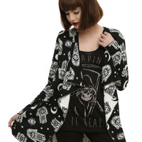 Hamsa Eye Moon Girls Cardigan