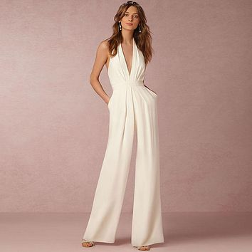 New sexy deep v-neck bodysuit women sleeveless elegant summer women jumpsuit solid drape playsuit