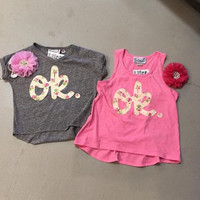 Kids Grey V-Neck with Floral ok.