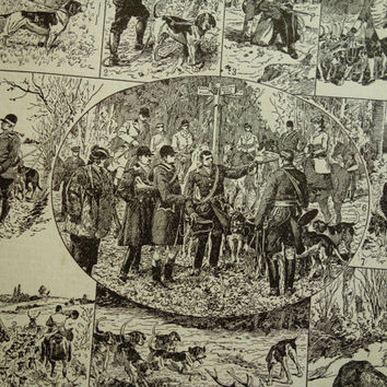 Old pictures of hunting party 1923 vintage print antique poster about hunters chase yacht shoot hunter dogs hounds  18x29cm/7x11''