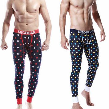 Pijama Men Autumn&Winter Male Long Johns Sleep Bottom Pure Cotton Dot Pants Thermal Legging Underwear Slim fit Pyjama Homme