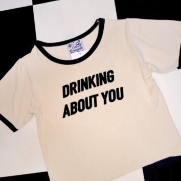 SWEET LORD O'MIGHTY! DRINKING ABOUT YOU RINGER TEE IN CREAM