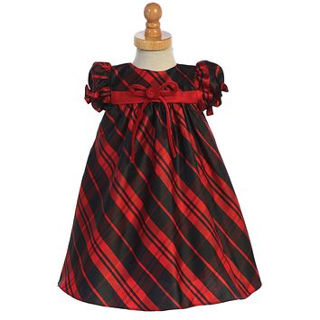 Red Plaid Baby Girls Holiday Dress w Velvet Front Bow 3m-24m