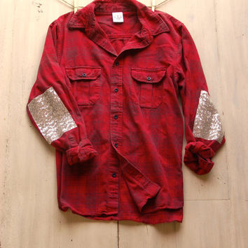 Hipster Sequin Flannel Shirt with Sequin Elbow Patch Boyfriend Flannel Shirt Womens Grunge Flannel Gift Ideas for Her Plus Size Sequin Shirt