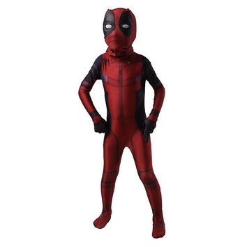 Deadpool Dead pool Taco Kids  Cosplay Costume Spandex Lycra Zentai Second Skin Tight Suit Boys One Piece Full Body Halloween Party Bodysuit AT_70_6