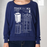 Tardis Blueprints Weight Raglan Pullover american apparel S M L