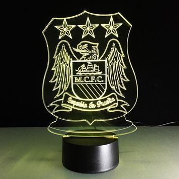 MCFC Futbol Crest 3D LED Night Light Lamp