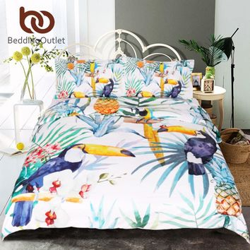 Toucan Bed Sheet Duvet Cover With Pillowcase Tropical Plant