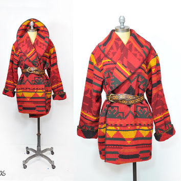 Vintage Southwestern Wool Blanket Coat • Navajo Print • Wool Tribal Stitched Coat • Tapestry Bohemian Coat • Vintage Winter Coat • Wrap Coat