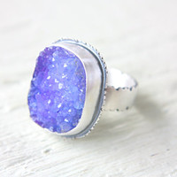 Purple Crystal Druzy  Ring Sterling Silver Ring Size 9 Silversmithed Metalsmithed