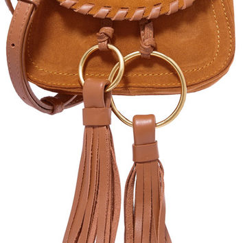 See by Chloé - Polly leather-trimmed tasseled suede shoulder bag