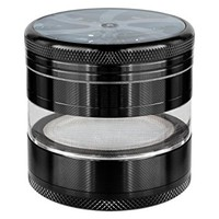 Herb Grinder Weed Spice Tobacco Crusher 4 Piece Transparent Grinder with Pollen Keef Catcher - Aluminum Alloy 2.5 Inch Large