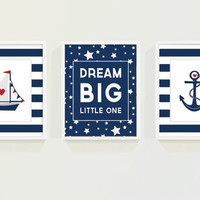 Nautical Nursery Art - Baby Boy Nursery Decor Dream Big Little One - Nautical Boys Room Art - Navy Blue Stripes Anchor - Inspirational Quote