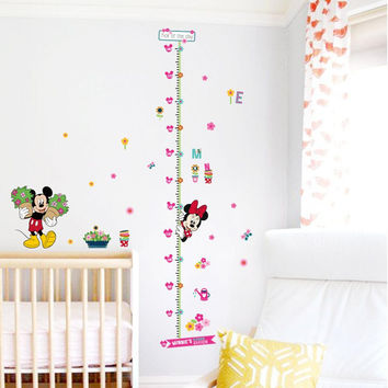 minnie mickey growth chart height measure chart wall stickers for kids room decor cartoon mural art home decals children gift SM6