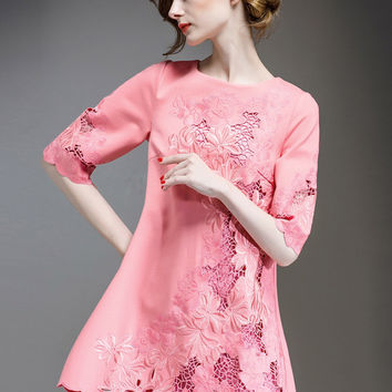 Pink Half Sleeves Embroidered Cut-out Lace Shift Dress