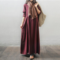 Women winter and autumn cotton linen  long sleeve loose dress