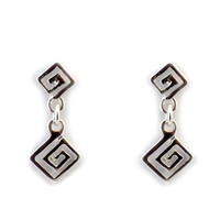 Sterling Silver Rhodium Plated Ancient Greek Key Drop Earrings