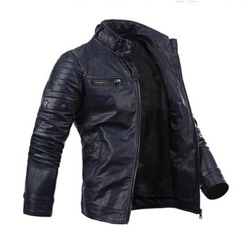 Men's Cool Multi-Pocket Slim Zip Coat Faux Leather Motorcycle Biker Jacket