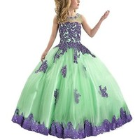 GKD Ball Gown Lace Appliques Beads Flower Girls Pageant Dresses