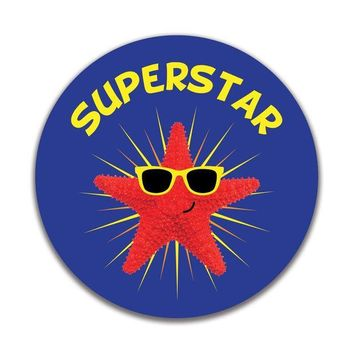 CREYCY8 Starfish Superstar 4x4in. Round Decal Sticker