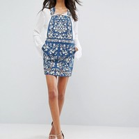 Needle & Thread Denim Embroidery Pinafore Dress at asos.com