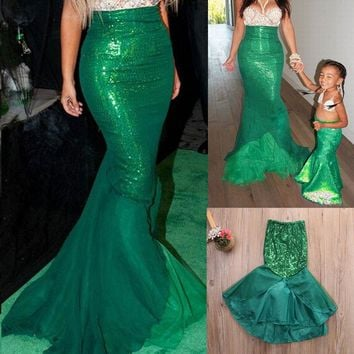 Xmas Sexy Sequin Mermaid Tail Costume Long Maxi Dress Adult Womens Fancy