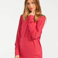 Full Tilt Essential Womens Cozy Crew Sweatshirt Red  In Sizes