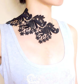 large lace black bib necklace -  gothic silver beaded - floral punk chic fabric jewelry