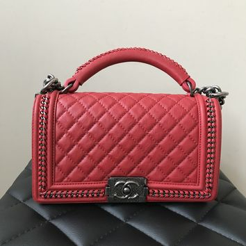 Chanel Red Calfskin Top Handle Old Medium Boy Flap Bag