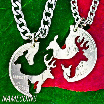Buck and Doe Necklace and fawn, Family necklace, with STAINLESS STEEL CHAINS, Interlocking Love Quarter, hand cut coin