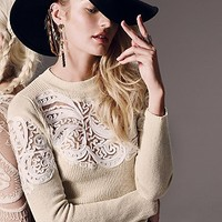 Free People Womens Scroll Work Pullover