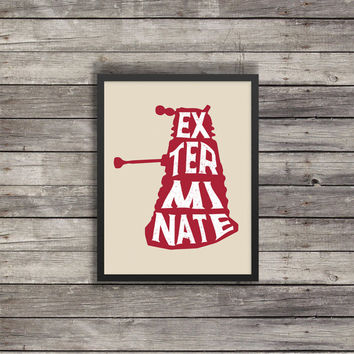 Dalek Silhouette Poster | Blue Dalek | Minimalist Poster |Doctor Who Poster |  Kids room decor | Red Dalek