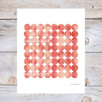 Minimalist art, home decor, circle print, coral print, watercolour print, nordic design, Scandinavian design, mid century modern, home decor