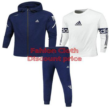 Adidas Three-Piece Suit 2018 Spring New Style Clothes L--4X Z-1801 Blue White