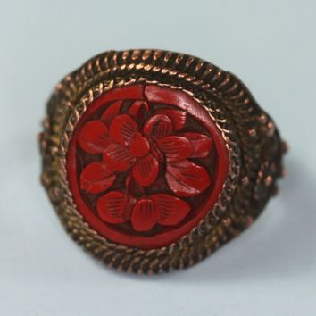 Chinese Carved Cinnabar Ring Adjustable Copper Vintage